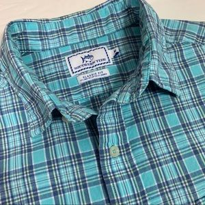 Southern Tide Classic Fit Turquoise Plaid SS Shirt